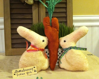 Primitive Bunnies Kissing with Carrot Heart, Somebunny Loves You Doll