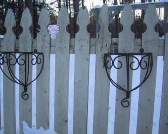 Vintage Pair of Black Wrought Iron Wall Shelves