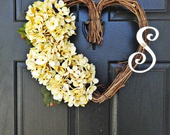 Antique White or Pink, Heart Shaped Grapevine Wreath With Hydrangeas and Wooden Monogram