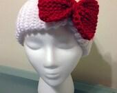 Hello Kitty Inspired Headband/Ear Warmer With Red Bow