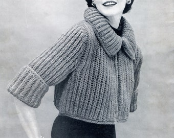 1950's Stylish Knit Sweater Pattern, Bolero or Shrug