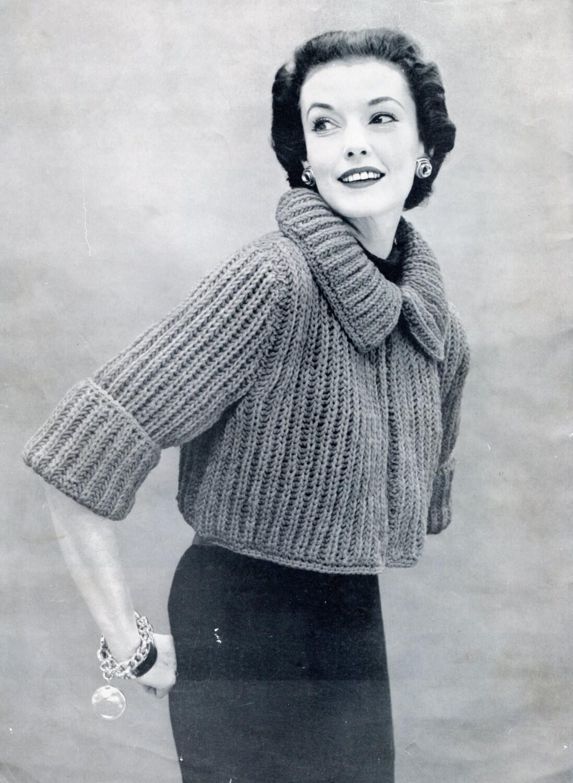Knitting Pattern Shrug Cardigan : 1950s Stylish Knit Sweater Pattern Bolero or Shrug