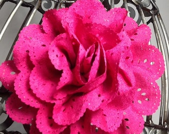 Hot pink hair clip: hot pink eyelet lace flower hair clip hair accessory, vintage inspired hair clip