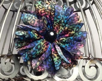 rainbow hair clip, black flower hair clip hair accessory in black rainbow cheetah print, girls hair clip, hair accessories
