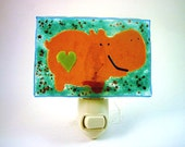 RESERVED: Hippo Night Light - Fused Glass Lighting