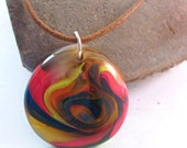 Multi-Colored Swirled Fused Glass Pendant