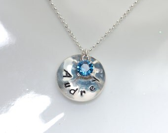 Birthstone necklace, Hand stamped necklace, personalized necklace, fine silver disc with birthstone