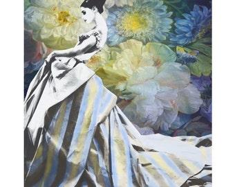Flower fashion, vintage goddess, photomontage, digital print, vintage vogue, ball gown, Dior, high fashion, home decor, modern art, fine art