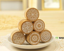 Korean wooden wood Round decoden Rubber Stamp Set stamp up stampin up- 6 Pcs in 6 different Decorative pattern