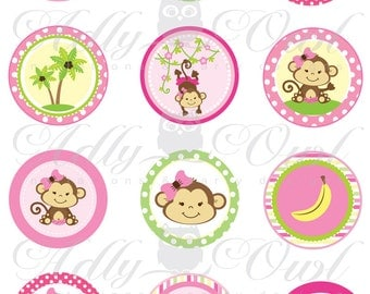 Superior Pink Girl Monkey Baby Shower Cupcake Toppers Or Favor Tags Printables DIY,  Itu0027s A Girl