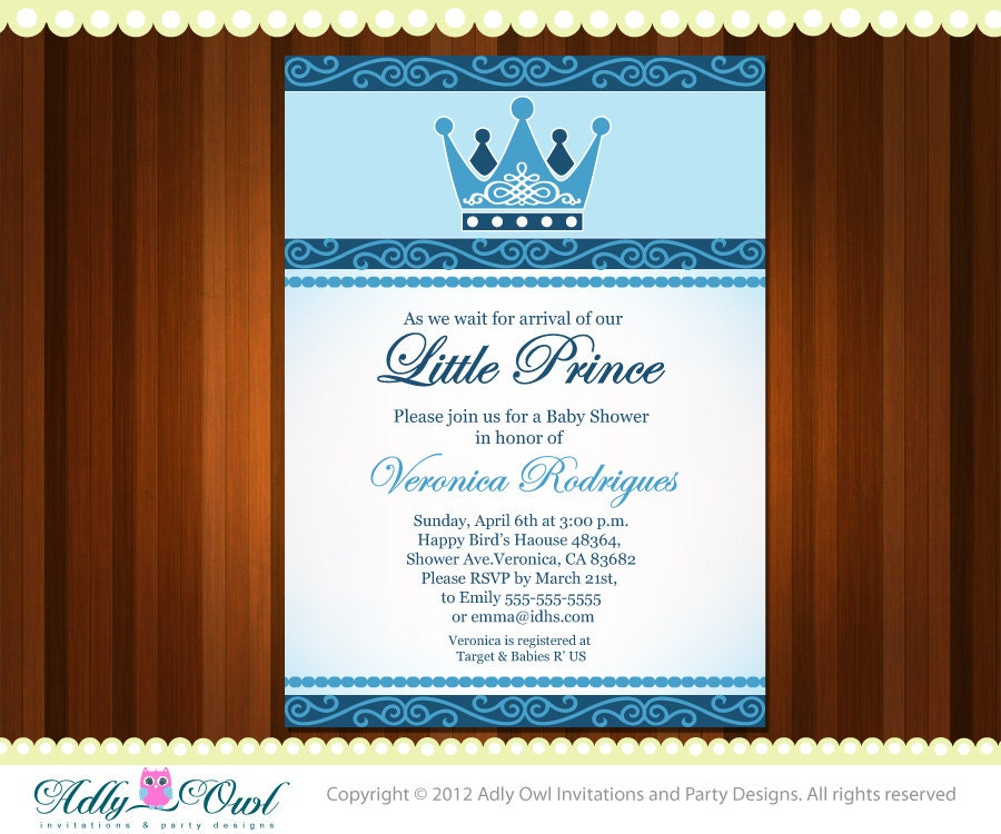 personalized little prince crown royal baby by adlyowlinvitations