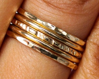 5 Gold Rings Polished Hammered Thin Stack Ring Set