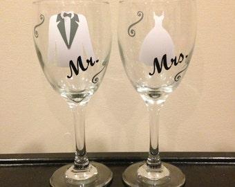 Personalized Mr. & Mrs. Dress and Tuxedo Wine Glasses