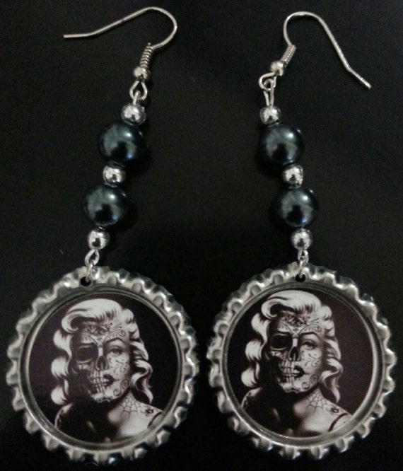 marilyn earrings marilyn day of the dead earrings 7806