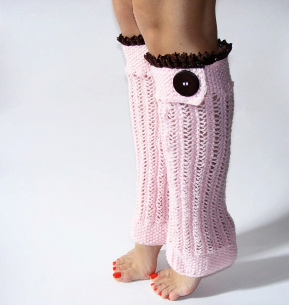 Pink Lace Leg Warmers Knit leg warmers Boot leg warmers