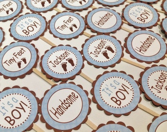 12 - Cupcake Toppers - Tiny Toes or Tiny Feet Baby Blue Polka Theme - Party Packs Available