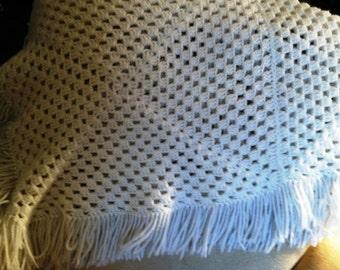 Large Vintage Crotcheted Shawl White Circa 1960  #201698