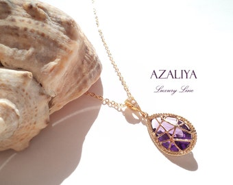 Necklace Purple Violett Lilac Crystal Briolette on Zirconia Bail. Palace Beauty. Azaliya Luxury Line. Bridal Necklace, Bridesmaids. Gift.