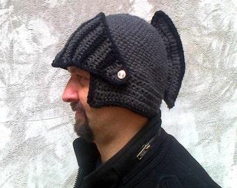 Boyfriend gift Winter hat Knight Helmet Hat Mens hat Brother gift Valentines Gift Crochet bike mask Winter Knit Cap, Mens Knitted Beanie