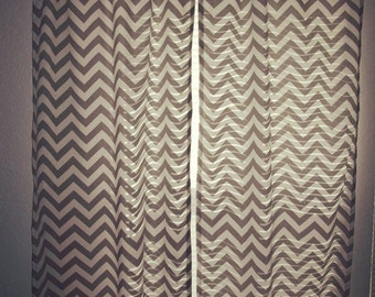 "2 panels 25 x 84""(max 104"") Gray and White Chevron Zig Zag"