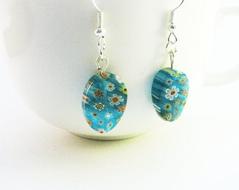 Blue Millefiori Earrings, Blue Flower Earrings, Blue Oval Earrings, Chunky Blue Earrings