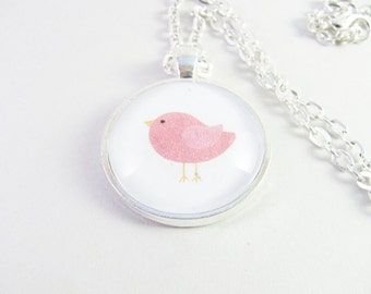 Little Bird Pendant, Glass Bird Necklace, Bird Cabochon Necklace, 23 Colours To Choose From