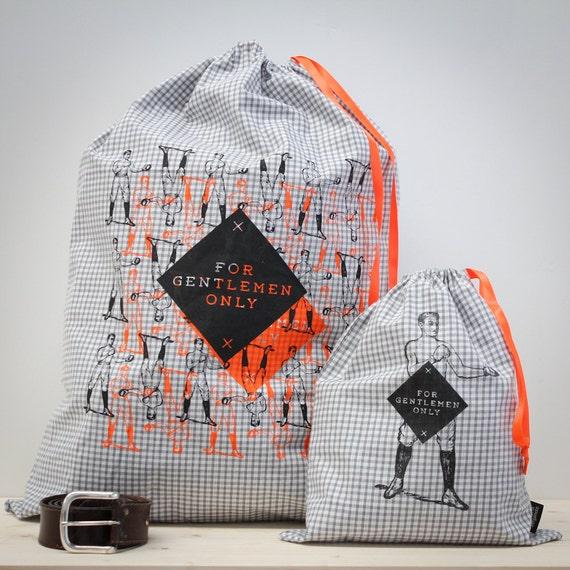 sacs lingerie linge sale homme vichy gris s rigraphie orange. Black Bedroom Furniture Sets. Home Design Ideas