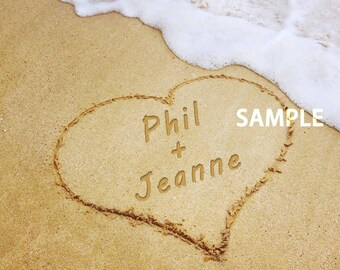 Personalized Heart with Names and Date in Sand for Valentine's Day Digital Photo