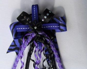Purple and Black Zebra Print Hair Bow
