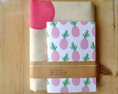 ONLY 1 LEFT Polka Dots Tote and Pineapple Notebook Eco Friendly Gift Set in Pink, Gift for Friend