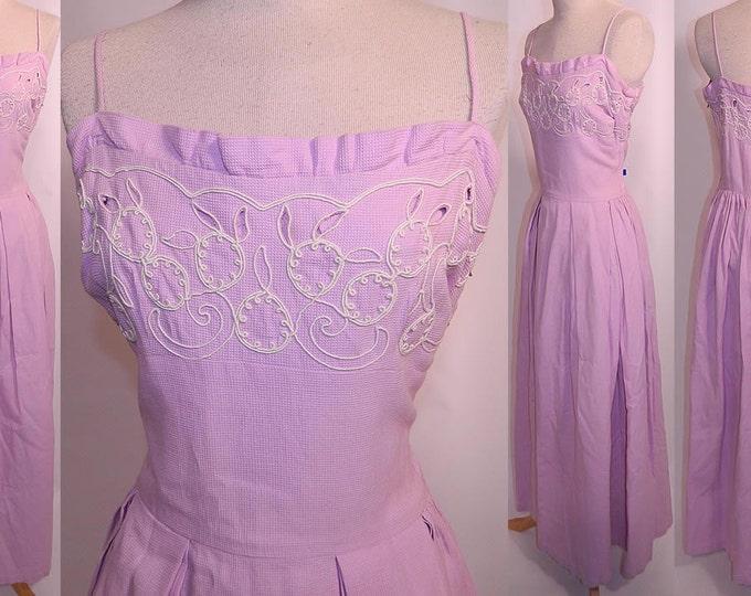 Vintage 1940s to 1950s Dress // Lilac Cotton Pique White Embroidered Dress // Vintage Maxi Dress