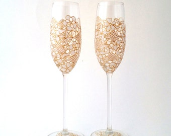 Pair of Wedding White Lace champagne toasting flutes