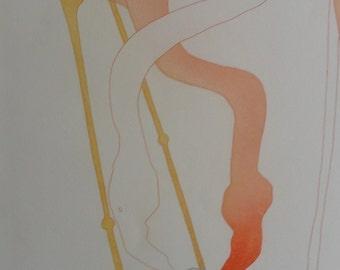"Charlotte Reine "" Tender Flamingo "" Original Signed Etching (1979)"