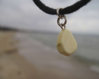 White Amber Cord Bracelet Freeform Baltic Charm Natural Men Jewelry Sea Ocean Beach Black Minimalist Jewelry Birthday gift for him