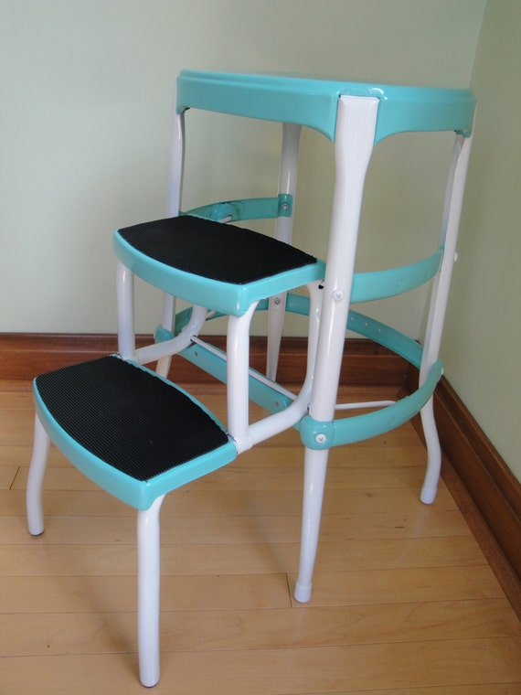 Vintage Restored Cosco Kitchen Step Stool Aqua Turquoise