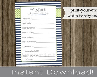 Baby Shower Wishes for Baby boy cards navy blue and green INSTANT DOWNLOAD diy digital printable file print your own