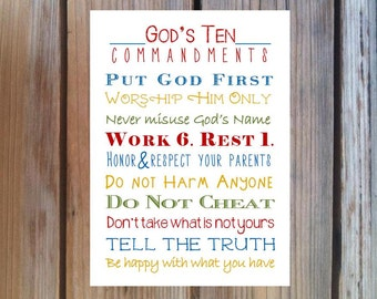 The Ten Commandments Print for Nursery or Child's Room. Exodus 20.Print and Pop into any frame. DIY Instant Download. 10 Commandments