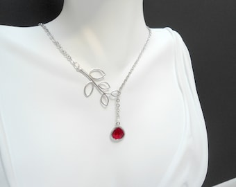 Red ruby branch lariat , ruby  red necklace , blood red branch lariat matte silver , traffic light red lariat