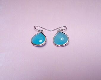 Sea blue earring , silver ocean blue earring , blue earring , silver bridesmaid earring , azul earring , drop earring
