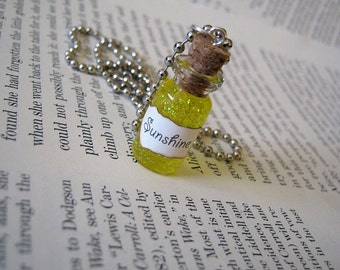 Liquid Sunshine 1ml Glass Bottle Necklace - Glass Vial Pendant - Bottle of Sunshine Yellow Happiness Charm