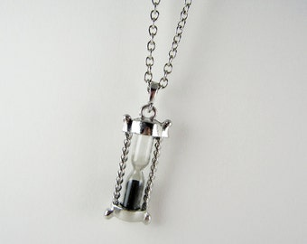 Antique Silver Hourglass Necklace - Black Sands of Time Pendant Charm
