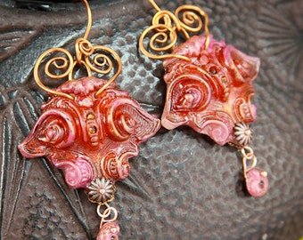 SALE Asian Polymer Crystal and Wire Wrapped Earrings