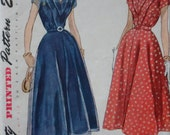 vintage 1950s Simplicity 3202 sz 14 BUST 32 day DRESS sewing pattern