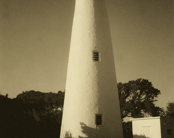 8x10 photograph Ocracoke Island Lighthouse, Outer Banks, NC in Sepia
