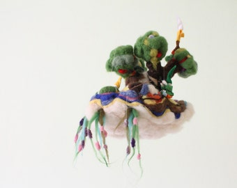 Gnomeville Ship Waldorf playscape and decoration, felted story, wool soft sculpture garden gnomes, wool children's room decor, felt mobiles
