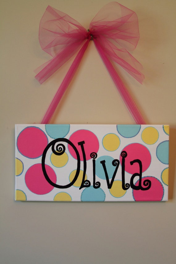 items similar to hand painted name on canvas olivia on etsy