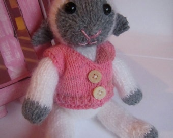 Soft White and Grey Knitted Lamb with Removable Waistcoat.
