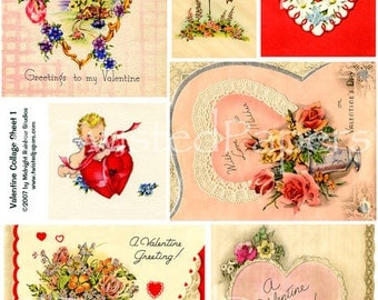 Valentine Greeting Cards 1930s - 1950s. Collage Sheet 001