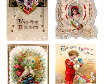 Early 1900s Victorian Valentine Postcards and Greeting Cards Collage Sheet 407
