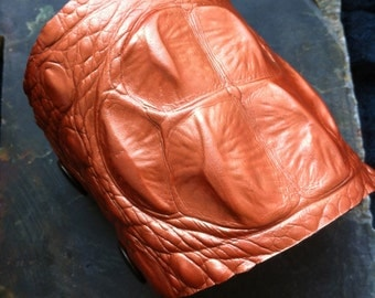 Crocodile Glam Gator Burnt Orange Embossed Patterned Cowhide Leather Bracer Cuff Handpainted and Lined with Sage Green Leather.